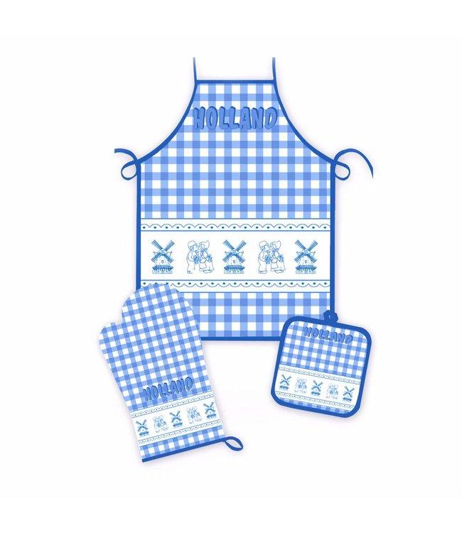 Keukenset molen en kuspaar blauwe ruit