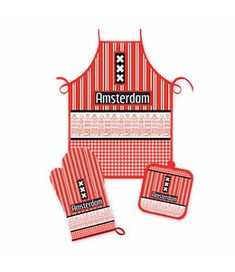 Keukenset Amsterdam gevels rood/zwart