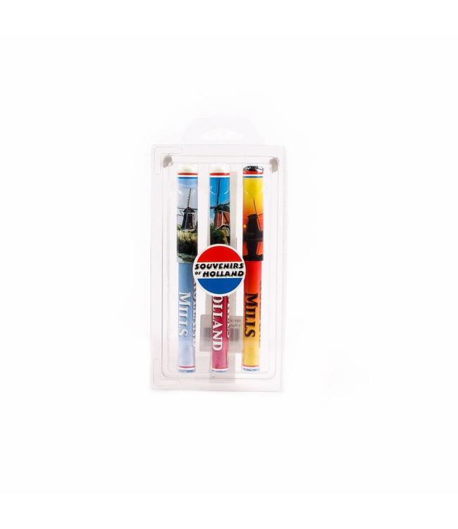 Pennen in blister 3 assorti molens kleur Holland