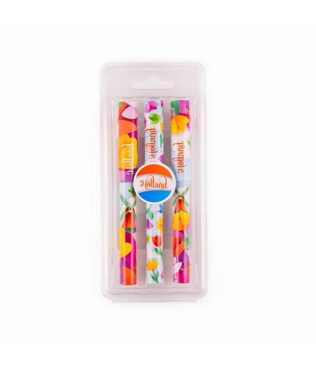 Pennen in blister 3 assorti tulp design Holland