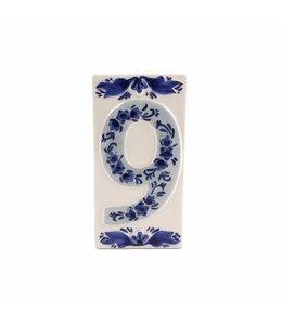 6 stuks Huisnummer  9  delftsblauw