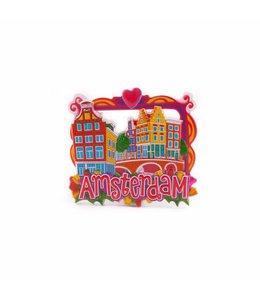 12 stuks magneet polystone grachtenhuisjes Amsterdam