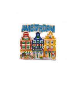 12 stuks magneet polystone 3 huisjes Amsterdam blauw