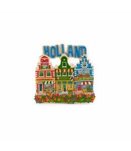 12 stuks magneet polystone 3 huisjes Holland blauw