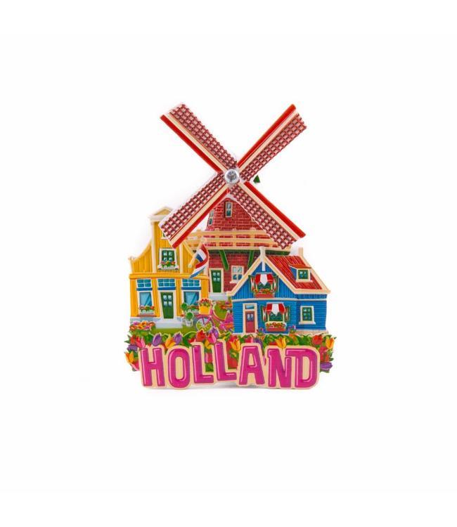 12 stuks magneet polystone molen roze Holland