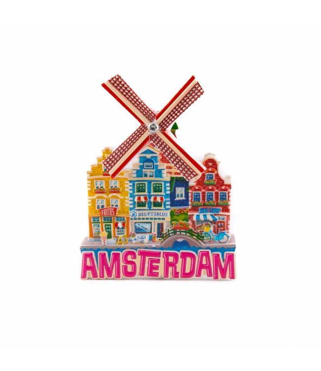 12 stuks magneet polystone molen paars Amsterdam