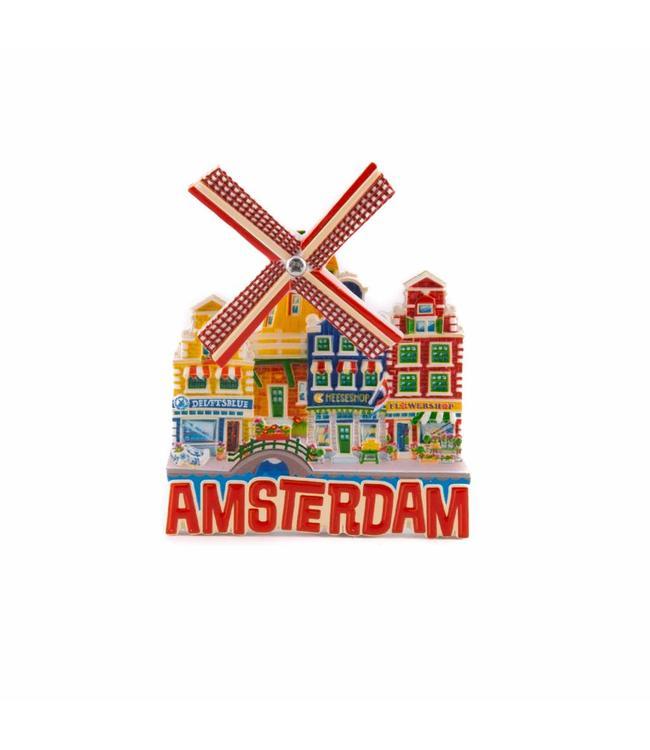 12 stuks magneet polystone molen rood Amsterdam