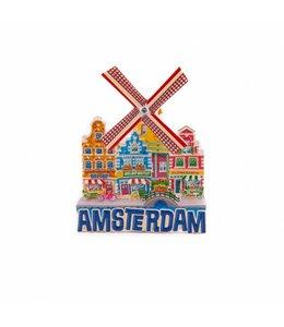 12 stuks magneet polystone molen blauw Amsterdam