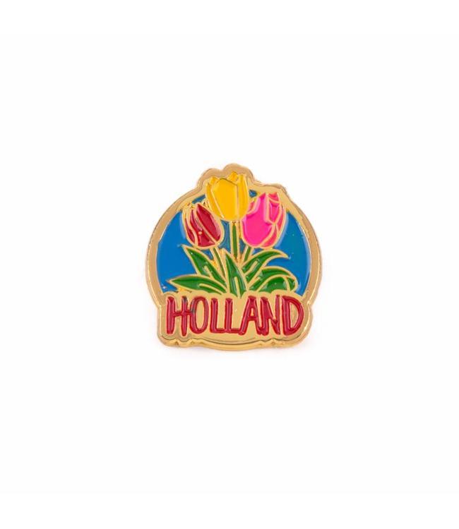 12 stuks pin met 3 tulpen Holland goud