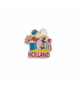 12 stuks pin kussend paar Holland zilver