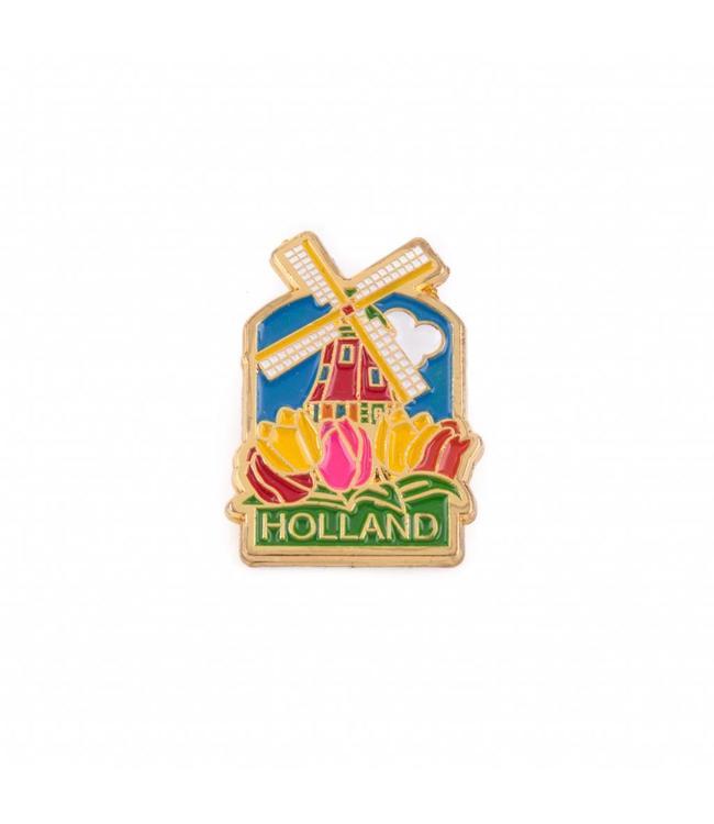 12 stuks pin molen met tulpen Holland goud