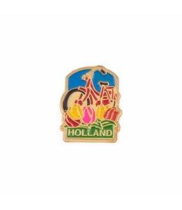 12 stuks pin rode fiets met tulpen Holland goud