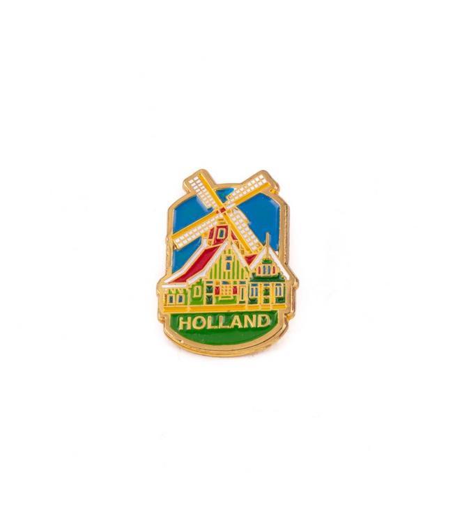 12 stuks pin molen huisjes Holland goud