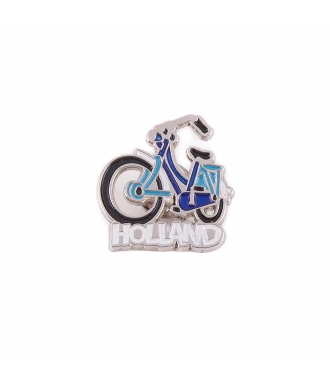 12 stuks pin fiets blauw Holland zilver