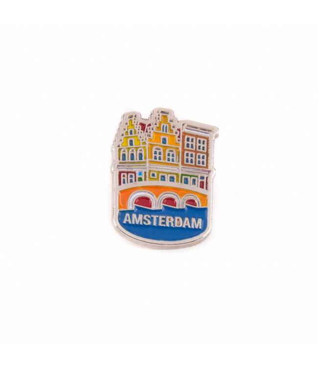 12 stuks pin huisjes Amsterdam zilver