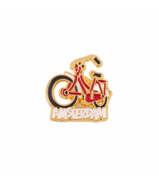 12 stuks pin fiets rood Amsterdam goud