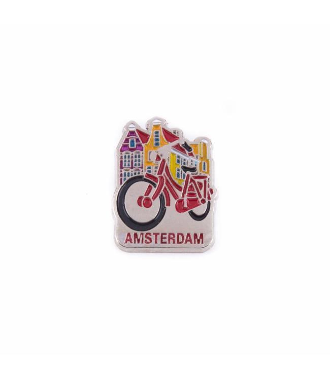 12 stuks  pin fiets met huisjes Amsterdam zilver