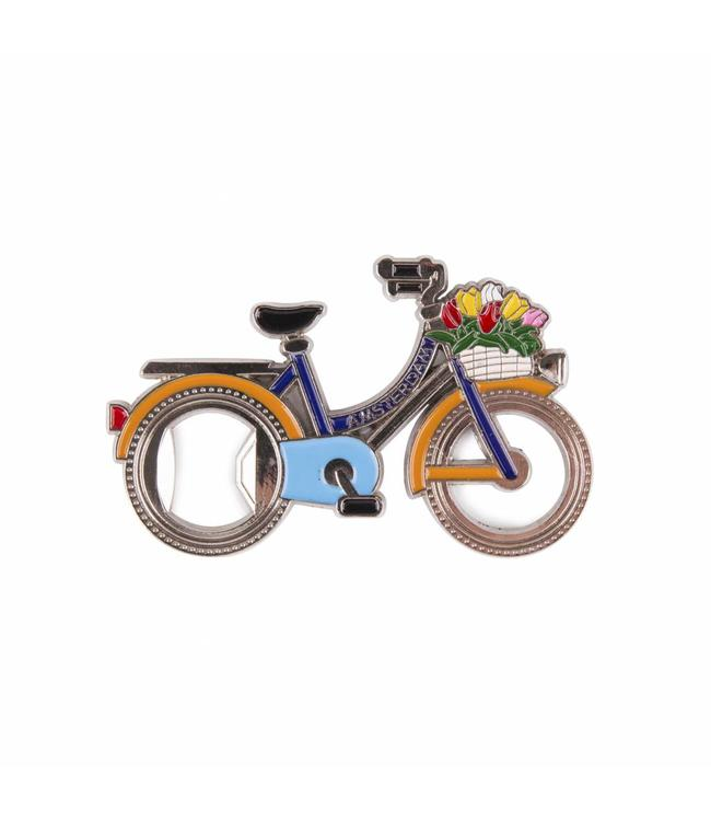 12 stuks opener in wiel magneet fiets Amsterdam blauw/oranje