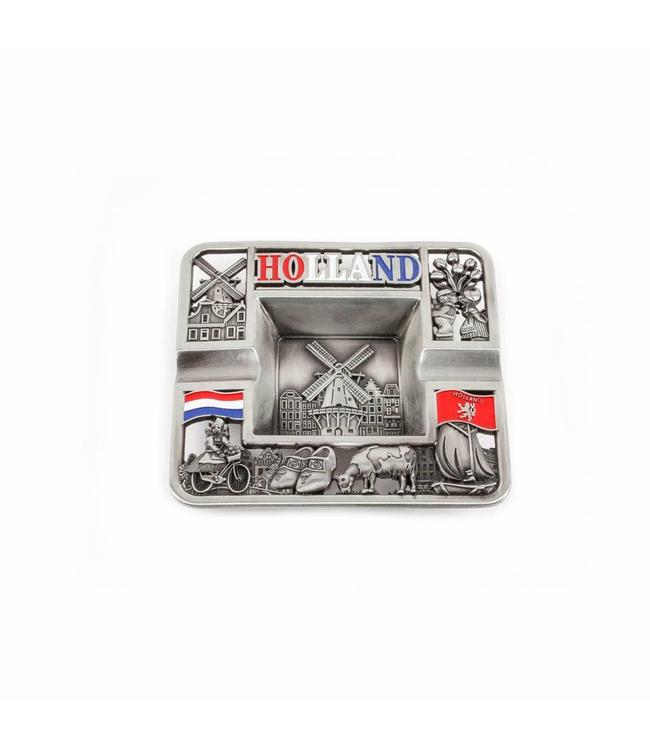 Asbak vierkant Holland compilatie tin