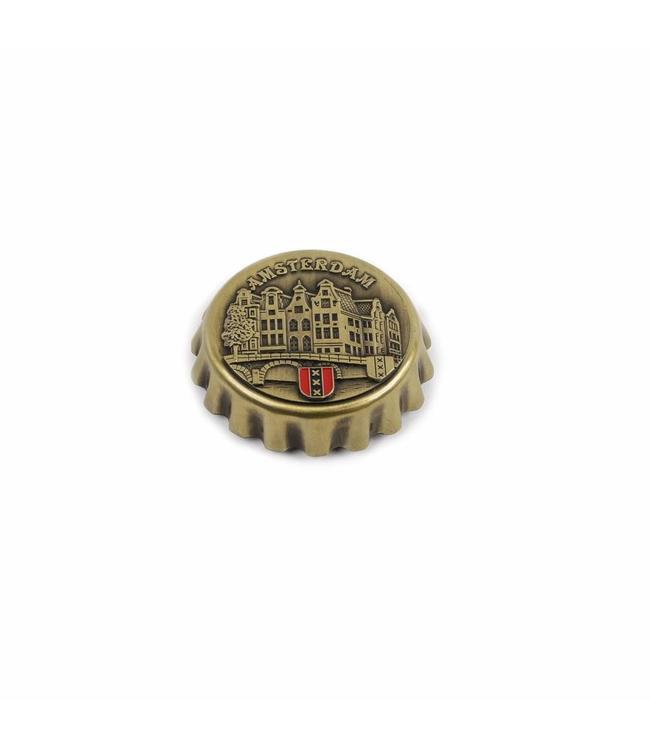 Kroonkurkopener magneet gracht brons