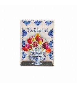 12 stuks Magneet 2D MDF tegeltableau tulpen Holland