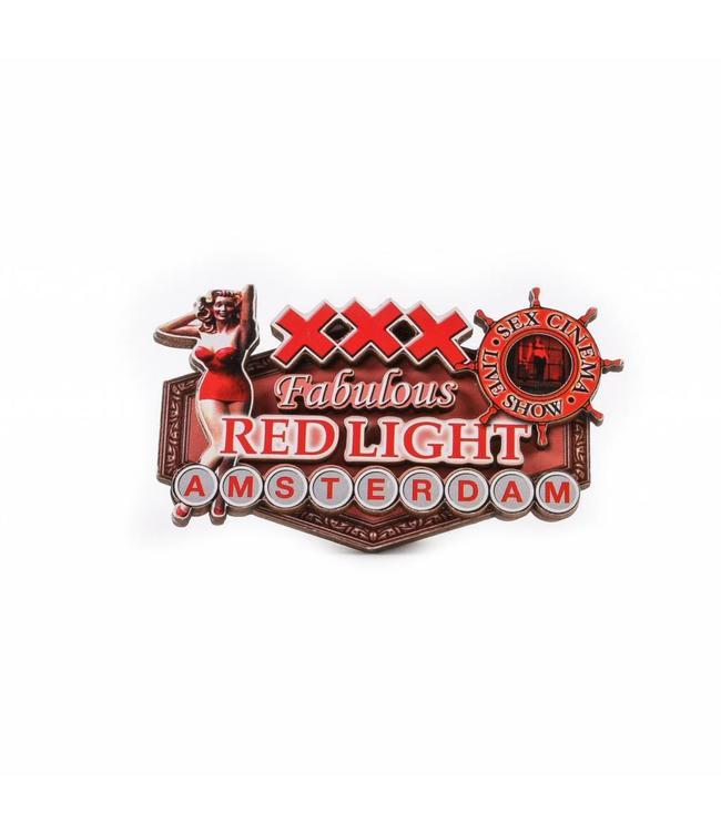 12 stuks Magneet 2D MDF Red Light pin up Amsterdam