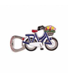 12 stuks opener magneet fiets Holland blauw/wit