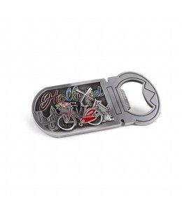 12 stuks opener magneet fiets Holland met glitter brons tin