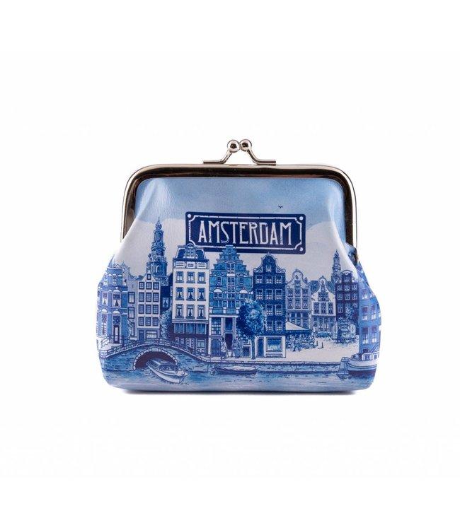 6 stuks portemonnee groot Amsterdam delftsblauw