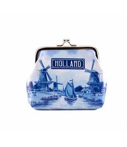 6 stuks portemonnee groot Holland delftsblauw