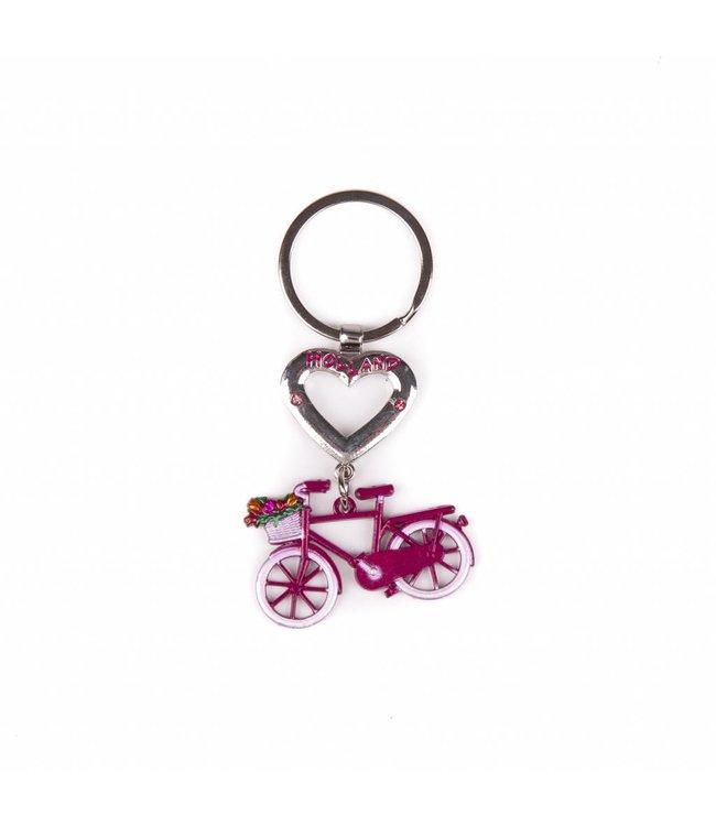 12 stuks SH hart met fiets roze Holland