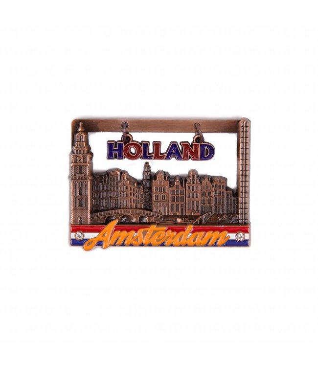 12 stuks magneet raam huisjes Amsterdam koper
