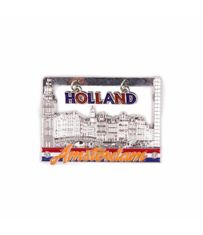 12 stuks magneet raam huisjes Amsterdam shiny zilver