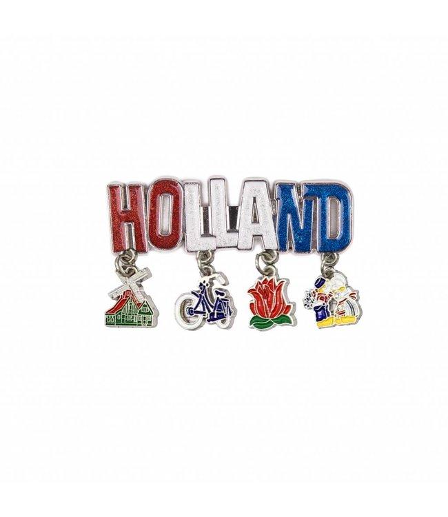 12 stuks magneet Holland glitter & bedels shiny zilver