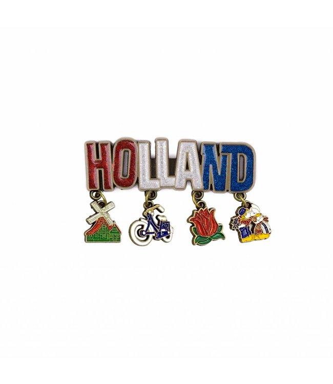 12 stuks magneet Holland glitter & bedels brons