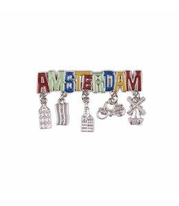 12 stuks magneet Amsterdam glitter & bedels shiny zilver