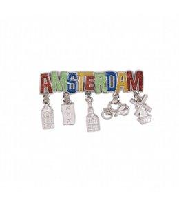 12 stuks magneet Amsterdam glitter & bedels zilver