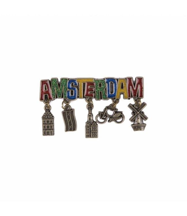 12 stuks magneet Amsterdam glitter & bedels brons