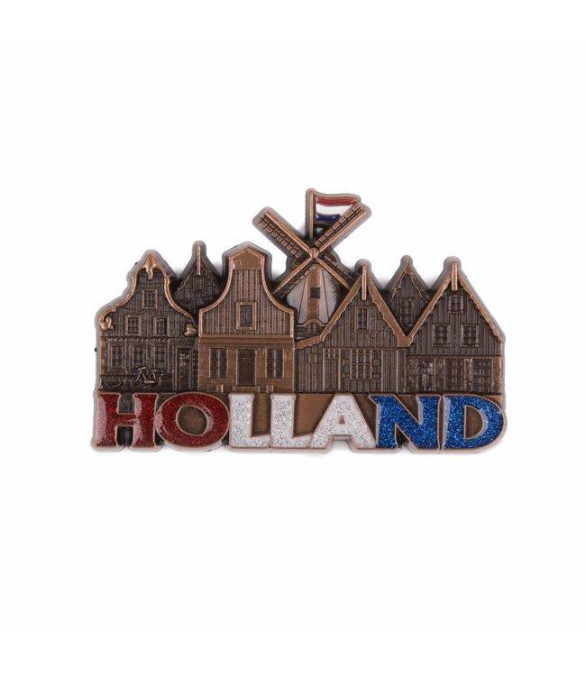 12 stuks magneet molen & huisjes Holland met glitter koper