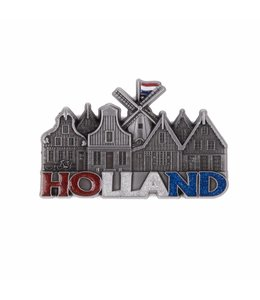 12 stuks magneet molen & huisjes Holland met glitter tin
