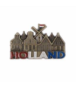12 stuks magneet molen & huisjes Holland met glitter brons