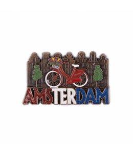 12 stuks magneet fiets met huisjes Amsterdam glitter koper