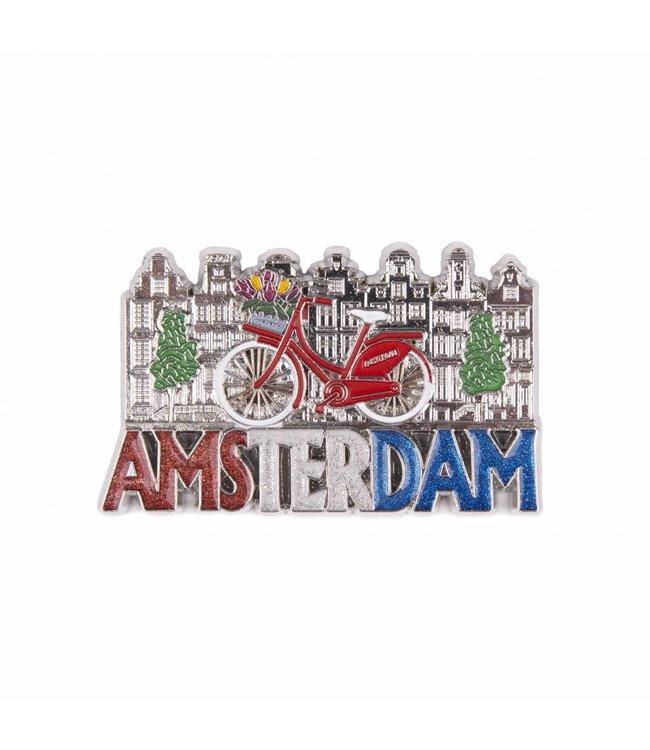 12 stuks magneet fiets met huisjes Amsterdam glitter shiny zilver