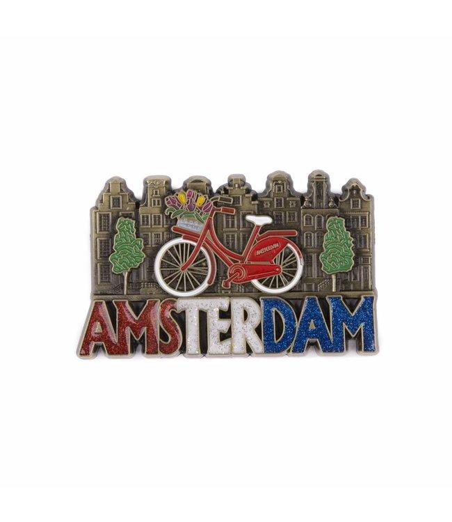 12 stuks magneet fiets met huisjes Amsterdam glitter brons