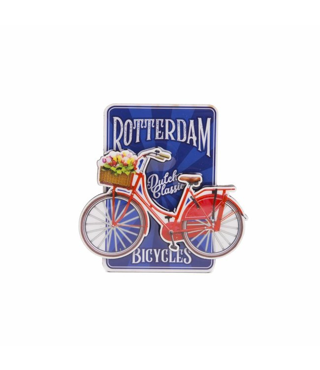 12 stuks magneet MDF fiets op blauw Rotterdam