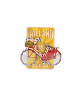 12 stuks magneet MDF fiets op geel Holland