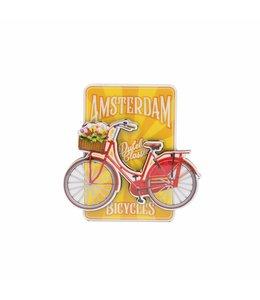 12 stuks magneet MDF fiets op geel Amsterdam