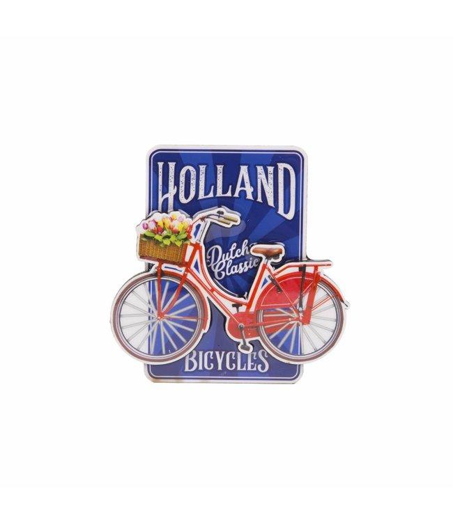 12 stuks magneet MDF fiets op blauw Holland