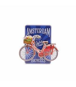 12 stuks magneet MDF fiets op blauw Amsterdam
