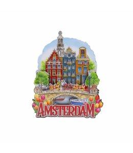 12 stuks magneet MDF 3 huizen op brug Amsterdam